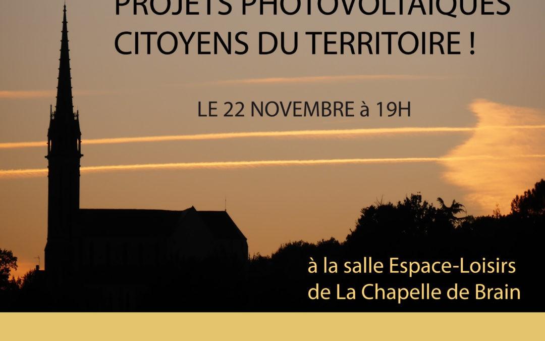 22 novembre – La Chapelle de Brain : lancement des premiers projets solaires citoyens en Pays de Vilaine